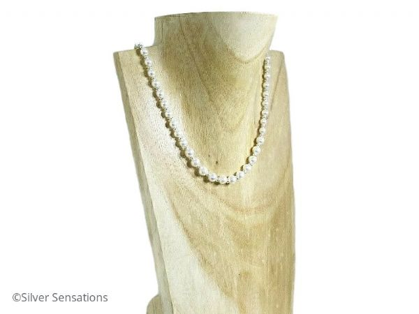White Swarovski Pearls & Sterling Silver Bead Bridal Necklace | Silver Sensations